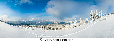 Winter mountain panorama landscape. - Morning winter calm...