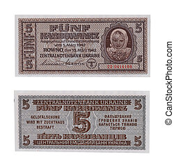 Five  fascist   Karbovanez bill  of Ukraine, 1942
