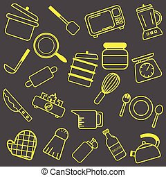 Yellow Kitchenware outline icons for tools and appliances equipment isolated vector illustrations on grey background