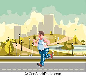Man running in the park and sweating to lose weight