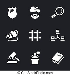 Vector Set of Internet security Icons. - Police, criminal,...