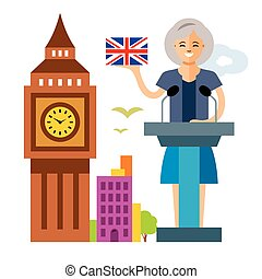 Vector United Kingdom policy. Woman politician. Flat style...