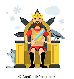Vector King on Throne. Flat style colorful Cartoon...