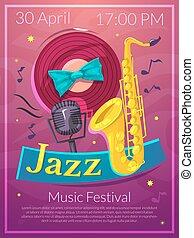 Jazz vector illustration - Jazz festival advertising poster,...
