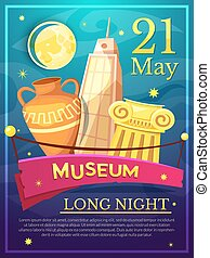 Long Night of Museums poster, vector illustration - Long...