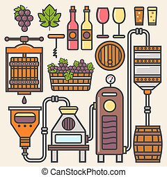 Wine production line or winery winemaking vector...