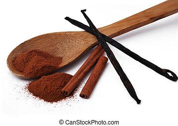 cinnamon and vanilla - spices. cinnamon and vanilla on a...