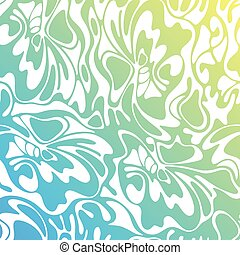 Vector color hand-drawing wave sea background. Blue abstract sea texture.