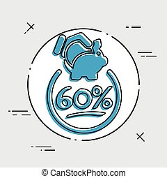 60% Discount label icon