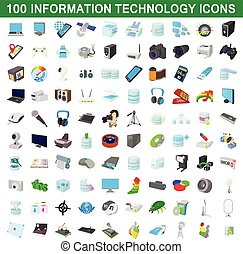 100 information technology icons set in cartoon style for...