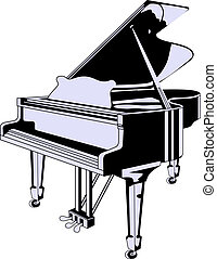 vector grand piano - vector black grand piano isolated