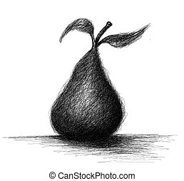 Loosely sketched pear - Loose line black and white sketch of...