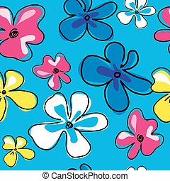 Seamless texture with multicolored flowers on a blue background