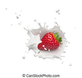 strawberry with milk splash