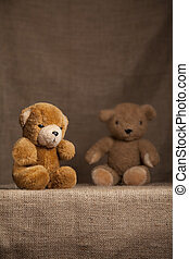 Scruffy teddy bears - Two shaggy teddy bears resting on...