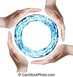 Save the nature - hands protecting a ring of water