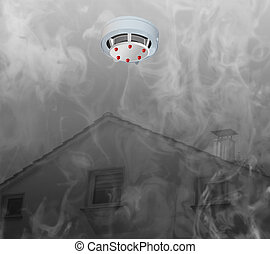 Smoke detector on the ceiling and smoke. - Smoke detector on...