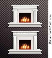 Indoor Fireplace Set On Transparent Background - Set of 2...