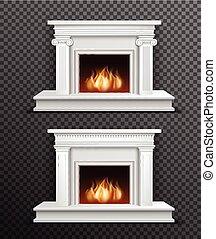 Indoor Fireplace Set On Transparent Background - Set of 2...