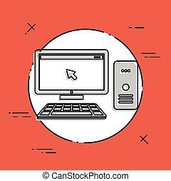 Desktop pc flat icon