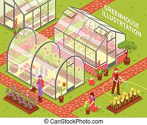 Colored Greenhouse Composition - Colored isometric...