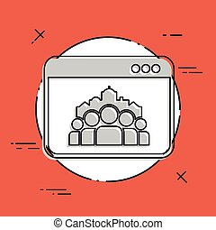 Cityscape and people community - Vector flat minimal icon