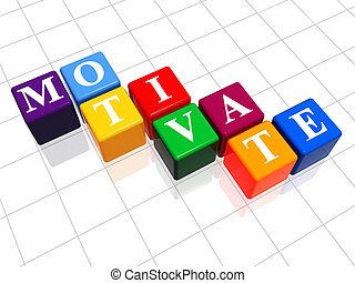 motivate in colour - 3d colour boxes with text - motivate,...