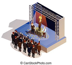 Business Award Winner Podium Isometric Isometric Image -...