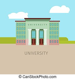 Colored univercity building illustration - Colored...
