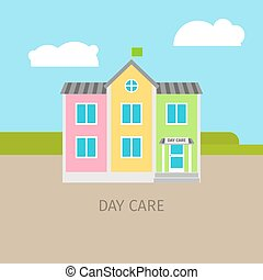 Colored urban day care building with sky and clouds, vector...
