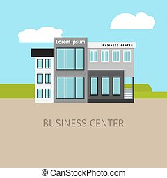 Colored business center building illustration - Colored...