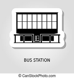 Bus station building web sticker - Bus station building...