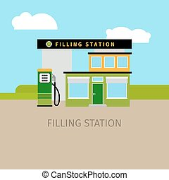 Colored filling station building illustration - Colored...