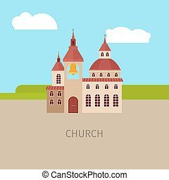 Colored church building illustration - Colored church...