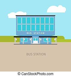 Colored bus station building illustration - Colored bus...