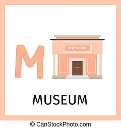 Alphabet card with museum building - Alphabet card for kids...