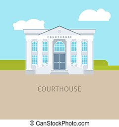 Colored courthouse building illustration