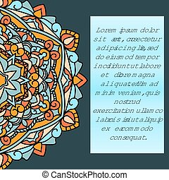 Beautiful leaflet with a mandala pattern and place for your text, on a dark blue background.