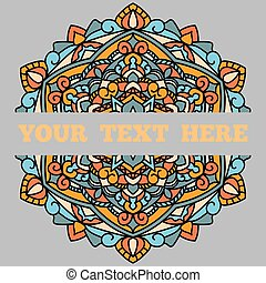 A beautiful leaflet with a mandala pattern and a place for your text, on a gray background.