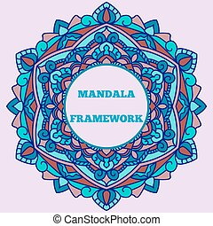 A beautiful leaflet with a mandala pattern and a place for your text, on a pale pink background.