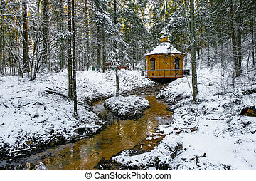 pequeño, río, invierno, paisaje