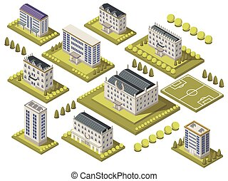 Isometric University Set - Isometric university set with...