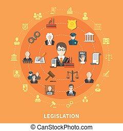 Law Round Composition - Law round composition with icon set...