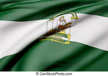 Andalucia flag - 3d rendering of an Andalucia flag waving