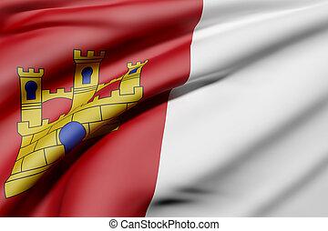 Castilla La Mancha flag - 3d rendering of a Castilla La...