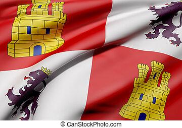 Castilla Leon flag - 3d rendering of a Castilla Leon flag...