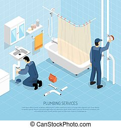 Plumber Isometric Illustration - Plumber with bath sink and...