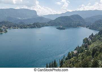 Landscape of lake Bled, Slovenia - Photo shows a landscape...