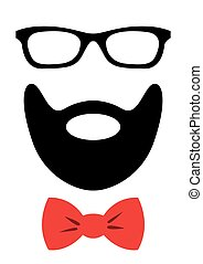 Party accessories set - glasses, mustache, bow - for design,...