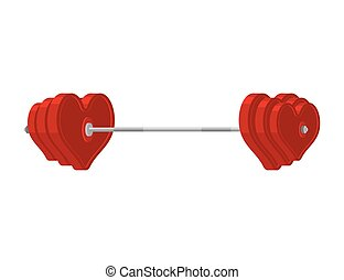 Love barbell. Heart weights. Amur fitness. Sports projectile...